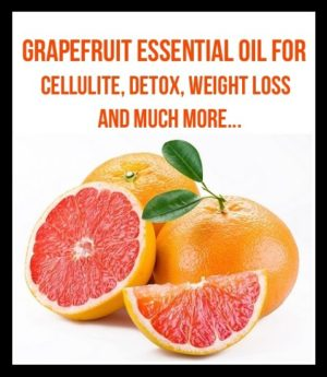 Grapefruit Essential oil for weight loss detox and more picture of Two whole grapefruits and one cut in half with a slice of grapefruit